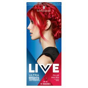 Schwarzkopf Live Ultra Brights or Pastel Semi-Permanent Hair Dye, Pillar Box Red 92