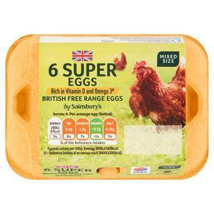 Sainsbury's Mixed Weight Free Range Super Eggs x6