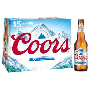 Coors Lager Beer Bottles x15 330ml