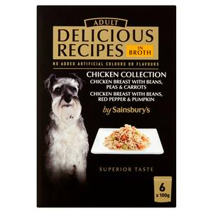 Sainsbury's Delicious Recipes Adult Dog Food Chicken Collection 6 x 100g