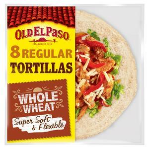 Old El Paso Regular Soft Whole Wheat Tortilla Wraps x8 326g