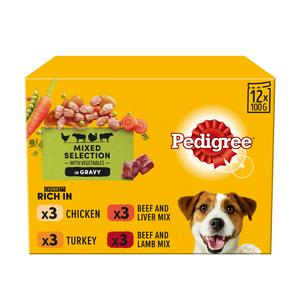 Pedigree in Gravy Wet Adult 1+ Dog Food Pouches Mixed Selection 12x100g