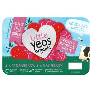 Yeo Valley Organic Little Yeos, Strawberry & Raspberry Fromage Frais 6x45g