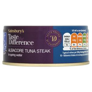 Sainsbury's Albacore Tuna Steak In Spring Water, Taste the Difference 160g