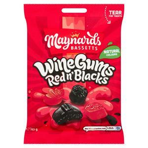 Maynards Bassetts Wine Gums Red n' Blacks Sweets Bag 165g