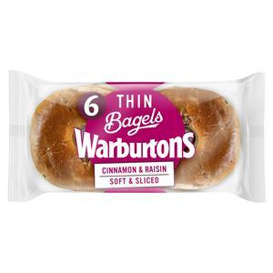 Warburtons Cinnamon & Raisin Bagels x6