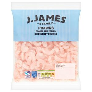 J.James & Family Frozen Cooked & Peeled Coldwater Prawns 250g