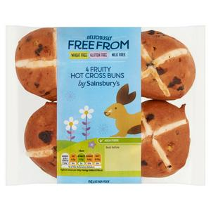 Sainsbury's Deliciously Free From Fruity Hot Cross Buns x4 280g