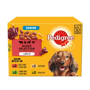 Pedigree Senior in Jelly 7+ Dog Food Pouches Mixed Selection 12x100g