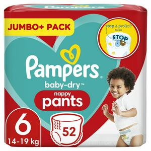 Pampers Baby-Dry Nappy Pants, Size 6, 15kg+ x52