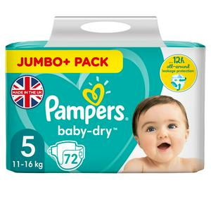 Pampers Baby Dry Size 5 Jumbo 72 Nappies