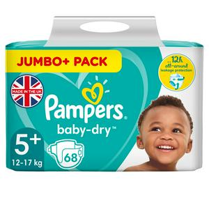 Pampers Baby Dry Size 5+ Jumbo 68 Nappies