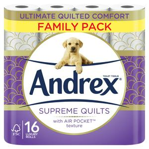 Andrex Supreme Quilts Toilet Tissue 16 Rolls