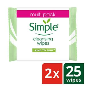 Simple Cleansing Wipes Banded Pack 2x25