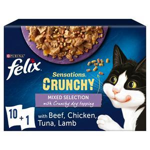 Felix Sensations Crunchies Cat Food Mixed 10 X 100g
