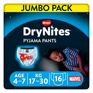 Huggies DryNites Boys Pyjama Pants for Bedwetting, Age 4-7 Years, Jumbo Pack 16 Pants