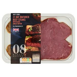 Sainsbury's Just Cook British Beef Steaks with Garlic Butter 330g (Serves 2)