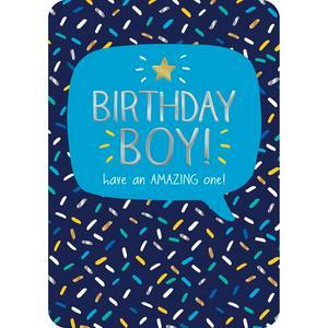 Blue Dashes Birthday Boy Card