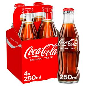 Coca-Cola Classic Bottles 4x250ml (Sugar levy applied)