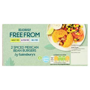 Sainsbury's Deliciously Free From Spiced Mexican Bean Burgers x2 227g