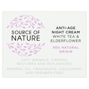Source of Nature Anti-Age Night Cream White Tea & Elderflower 50ml