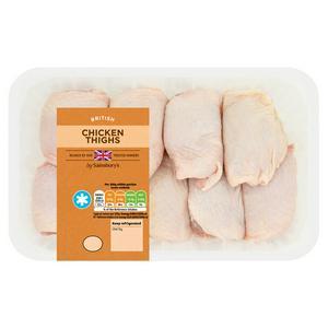 Sainsbury's British Fresh Chicken Skin on Thighs 1kg