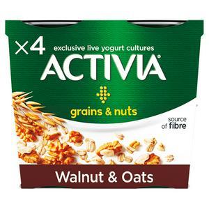 Activia Grains & Nuts Walnut & Oats Yogurt 4x120g