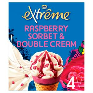 Extreme Fresh & Fruity Raspberry with Double Cream Ice Cream Cones 4x120ml