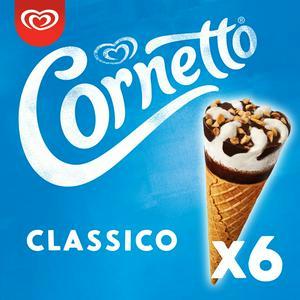 Cornetto Classico Ice Cream Cones 6x90ml