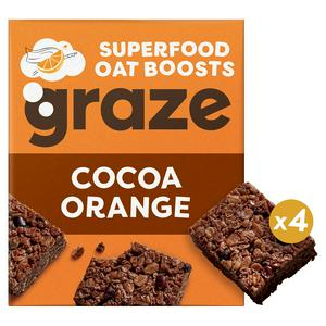 Graze Cocoa & Orange Superfood Oat Square Bites with Cacao Nibs & Quinoa 4x30g