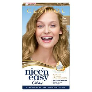 Clairol Nice'n Easy Cr�me Natural Looking Oil-Infused Permanent Hair Dye Medium Ash Blonde 8A