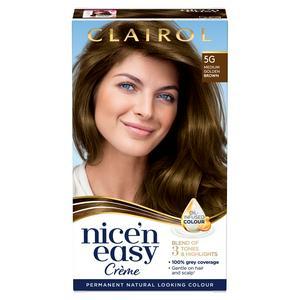 Clairol Nice'n Easy Cr�me Natural Looking Oil-Infused Permanent Hair Dye Medium Golden Brown 5G
