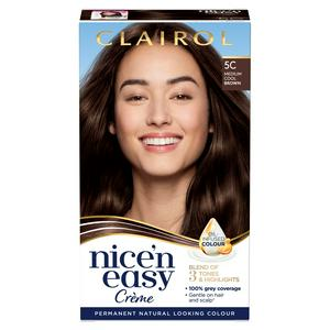Clairol Nice'n Easy Cr�me Natural Looking Oil-Infused Hair Dye Medium Cool Brown 5C