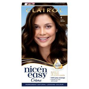 Clairol Nice'n Easy Cr�me Natural Looking Oil-Infused Permanent Hair Dye Dark Brown 4
