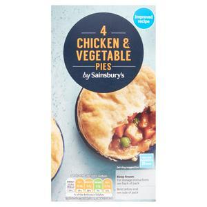 Sainsbury's Chicken, Gravy & Vegetable Pie x4 600g