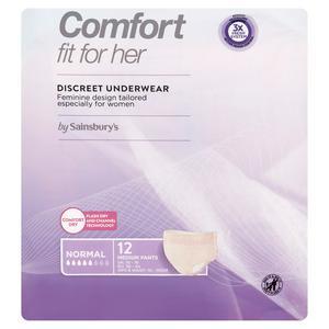 Sainsbury's Comfort Fit for Her Discreet Underwear Pants Normal Medium x12