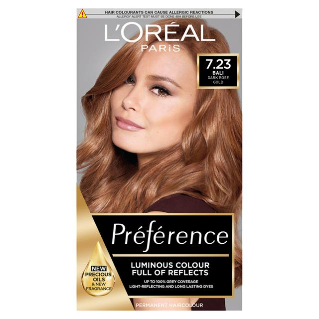 L Oreal Paris Preference Permanent Hair Dye Bali Dark Rose Gold Brown 7 23 Sainsbury S