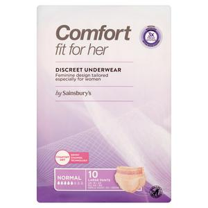 Sainsbury's Comfort Fit for Her 10 Discreet Underwear Pants Normal Large x10