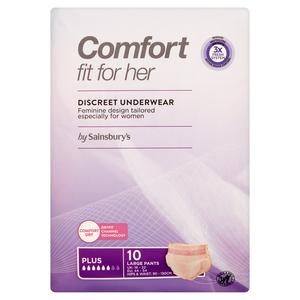 Sainsbury's Comfort Fit for Her Discreet Underwear Pants Plus Large x10