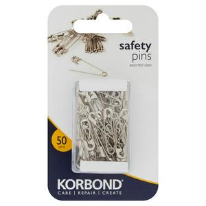 Korbond Care & Repair Safety Pins Assorted Sizes 50 Pins