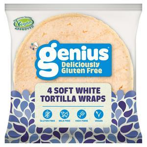 Genius Gluten Free Plain White Wraps x4