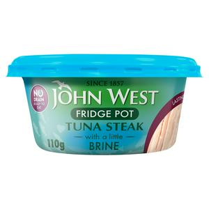 John West No Drain Fridge Pot Tuna Steak with a Little Brine 110g