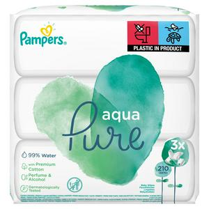 Pampers Baby Wipes Aqua Pure 3x70