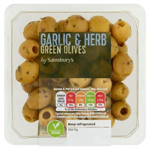 Sainsbury's Manzanilla Garlic & Herb Green Olives 160g