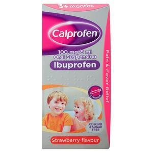 Calprofen 100mg/5ml Oral Suspension Ibuprofen Strawberry Flavour 3+ Months 100ml