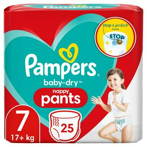 Pampers Baby-Dry Nappy Pants Size 7, 17kg+ x 25