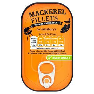Sainsbury's Mackerel Fillets in Smoky BBQ Sauce 125g
