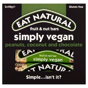 Eat Natural Simply Vegan Peanuts, Coconut and Chocolate Fruit & Nut Bars 3 x 45g