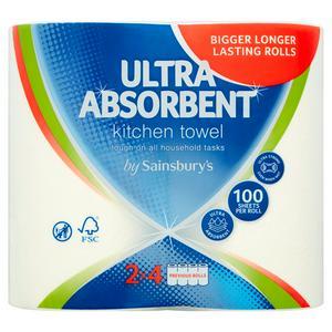 Sainsbury's Ultra Absorbent Kitchen Towel 2 Rolls