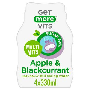 Get More Vits Multi Vits Apple & Blackcurrant Naturally Flavoured Still Spring Water 4 x 330ml